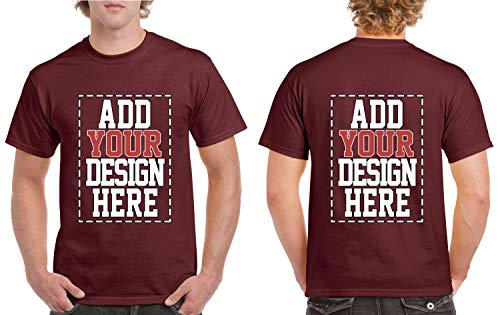 - Custom 2 Sided T-Shirts - Design Your OWN Shirt - Front and Back Printing on Shirts - Add Your Image Photo Logo Text Number Maroon