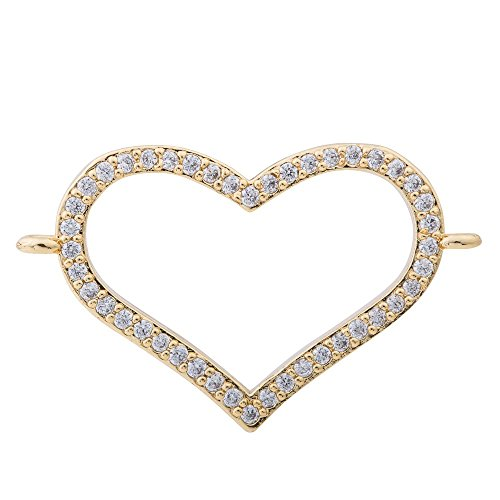 DongStar Jewelry Premium Quality Findings Cooper Paved Connector Bead Cubic Zirconia Crystal Quality Style Bracelet Thin Outlined Heart Charm Connector (Gold Plated)