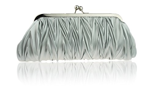 ((Silver) Women Vintage Satin Pleated Evening Cocktail Wedding Party Handbag Clutch Purse - Zakka Republic (CLT-02-A))