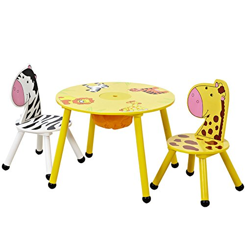 ISUMER Kids Wooden Table and 2 Chairs Set with Storage by ISUMER