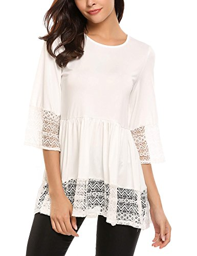 SoTeer Womens Casual 3 4 Sleeve Cute Babydoll Ruffle Flare Lace Tunic Tops T Shirts Loose Blouse White XXL