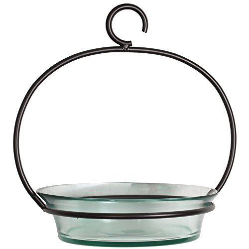 Hanging Recycled Glass (Couronne Company M337-200-00 20 oz Recycled Glass & Metal Hanging Cuban Bird Bath or Feeder)