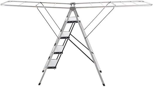 HGXC Escalera de Tijera Escalera, Tendedero, Escalera De Secado Multifuncional Plegable De Cuatro Pasos para Instalación En El Interior, De Piso, De Doble Uso: Amazon.es: Hogar
