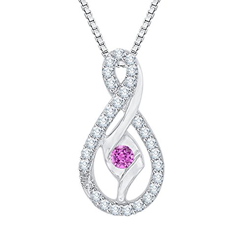Sirena Diamond Necklace - Center Sapphire Pink and White Diamond Pendant Necklace in 10K White Gold (1/4 cttw) (Color JK, Clarity SI2-I1)