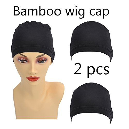 Stretch Cap Wigs (Bamboo Black Fiber/Sterilization/Sweat Proof/Wig Hair Stock Liner Cap Stretch Mesh Net 2PCS for Women with Cancer, Chemo, Hair Loss)