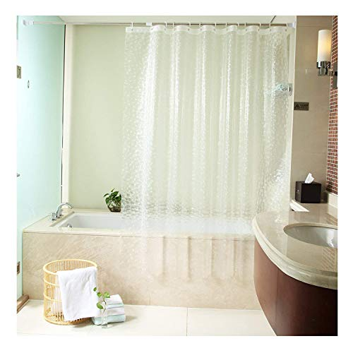Uforme 48 Inch By 72 Inch Shower Curtain Liner PVC-free Enviromental 3D Cube Bath Curtain Anti-water and Mold Proof with Hooks, Clear