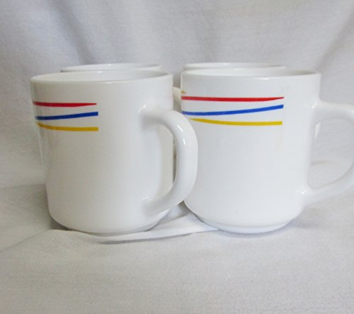 4 White Red, Yellow, and Blue Stripe Arcopal France Coffee Mugs (Mug Arcopal)