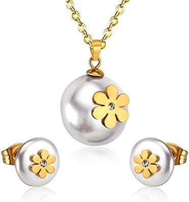 FUKAI Simple Conjunto De Joyas De Perlas Falsas con Flores Conjuntos De Acero Inoxidable Boutique Damas Accesorios Regalos De Fiesta