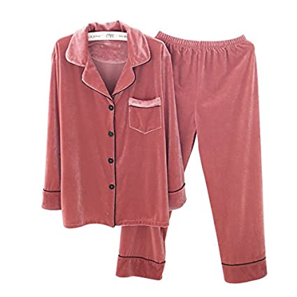 MH-RITA Pijama de invierno, la mujer de manga larga de terciopelo de lujo