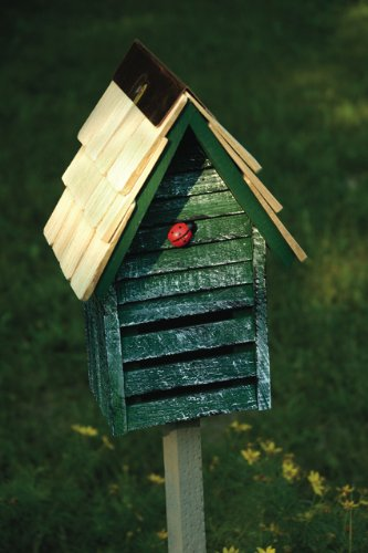 Green Weathered Finish Ladybug House With Garden Stake - Made in the USA by In the Garden and More (Image #2)