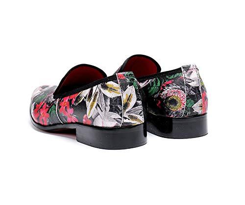 custom Para Patrón Zapatos Folk eu37 Fiesta Rock Diseño Flor Negocio Oficina Retro Singer Cuero Hombre Eu45 De Discoteca Informal Boda Casual XwSSd0