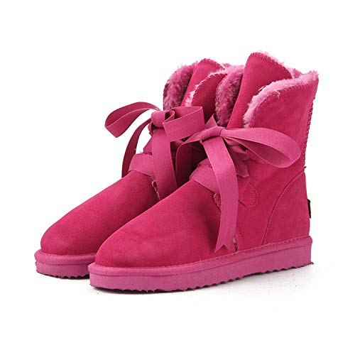 - Women Snow Boots Genuine Leather Winter Boots Warm Women Boots,Rose Red,3