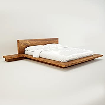 Amaani Furnitureu0027s Solid Wood Queen Size Bed (Natural Wood)