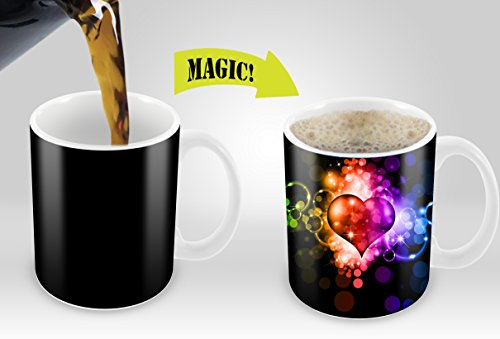 Heat Sensitive Mug | Color Changing Coffee Mug | Funny Coffee Cup | Fancy Heart Design 11oz 100% Ceramic (Fancy Scroll Heart)