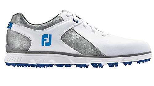 FootJoy Men's Pro SL Spikeless Plain Toe Rover Whte/Grey/Light Blue Trim 9.5 M US