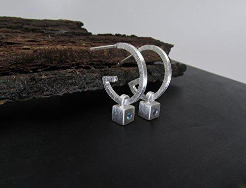Blue Topaz Hoop Earrings In Sterling Silver - Removable Cube Charms - London Blue Topaz - Modern Cube Earrings