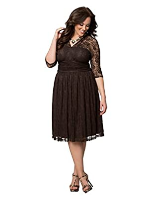 Dilanni Women Elegant Formal Evening & Cocktail Party Lace Dress Double V Neck