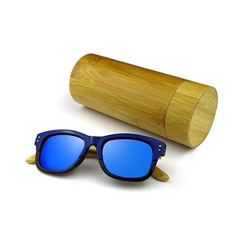 Lunettes de soleil en bambou en bois, lunettes de soleil en bois fabriquées à la main, hommes femmes Verres en bois (film gris)