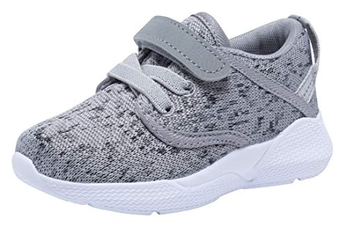 COODO Toddler Kid's Sneakers Boys Girls Cute Casual Running Shoes (5 Toddler,Ash Grey)
