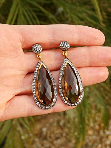 (hongnguyen Chandelier Earrings, Smokey Quartz Earrings, White Topaz Earrings, Sterling Silver Earrings, 18kt Yellow Gold)