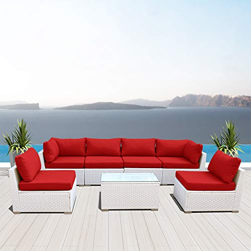 Dineli Outdoor Sectional Sofa Patio Furniture White Wicker Conversation Rattan Sofa Set G7 (red)