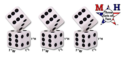 Set of 2 Large 1''x1'' Square Opaque Jumbo Dice - White with Black Pips (Large, 3 Sets) by Koplow Games