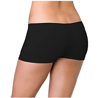 Black Hot Pants Seamless 6.5 Inches Short Pants, One Size at ...