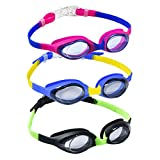 Yuenree Kids Swimming Goggles 3 Pack - Boys Girls Swim Goggles 3-12 - No Leak, Anti-Fog, UV Protection, Easy to Adjust and Non Slip - with 3 Protection Boxes