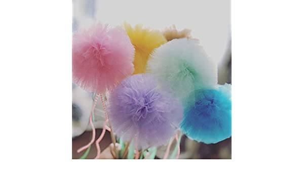 Birthday Party Favors Celebration Set 12 Tulle Pompom Beads Wand Centerpiece fairy Wands Flowers Fluffy Tulle Pom Poms Ball wands for Baby Shower Decorations Wedding Decor