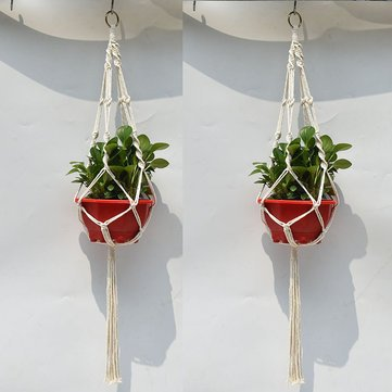 4 Legs Knitting Cotton a Flower Pot Holder Hanging Basket Flower Plant Hanger Rope Knitting Cotton and Hemp Rope Plant Hanger Flower Pot Hanging As House Office Ornament Garden Park Outdoor - Hanging]()