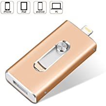 32GB USB Flash Drive iPhone Memory Stick External Storage Thumb Drive 3 in 1 Lightning OTG Micro USB Stick for iPad Apple IOS MAC Andriod Computers (32GB, Gold)