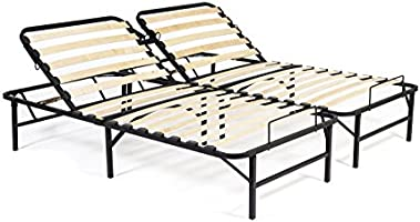Manually Adjustable Bed Foundation Simple Adjust Head Foot Wood Slat Metal Frame