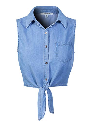 Design by Olivia Women's Sleeveless Button Down Tie Front Knot Chambray Shirts Medium Denim S