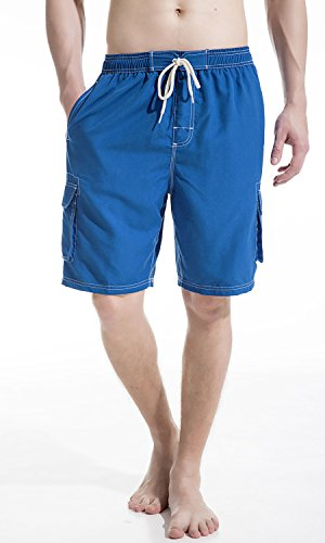 Akula Men's Swimming Trunks Quick Dry Bathing Suits Beach Water Surf Swim Board Shorts with Cargo Pockets Royal Size ()