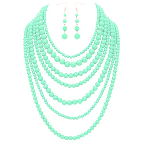 Rosemarie Collections Women's Fashion Jewelry Set Beaded Multi Strand Bib Necklace (Mint Beaded Necklace)