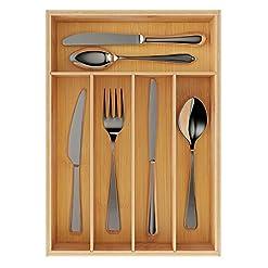 Kitchen BAMEOS Utensil Drawer Organizer, Cutlery Tray Desk Drawer Organizer Silverware Holder Kitchen Knives Tray Drawer… silverware organizers