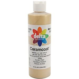 Delta Creative Ceramcoat Acrylic Gleam Paint (8 Ounce), 02604 Metallic Gold