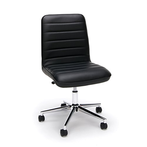Essentials Leather Mid-Back Office Chair - Armless Leather Computer Chair, Black (ESS-2080-BLK) by OFM
