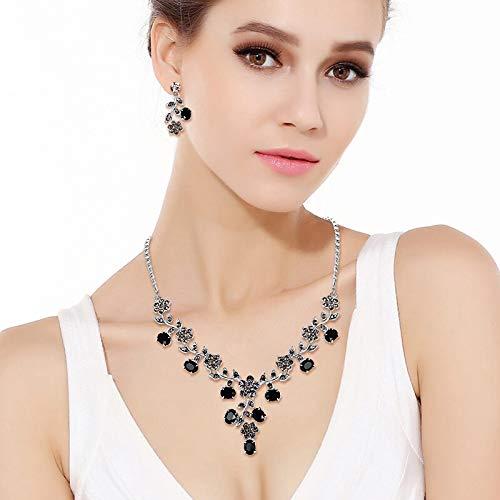 EVER FAITH Flower Leaf Necklace Earrings Set Austrian Crystal 2