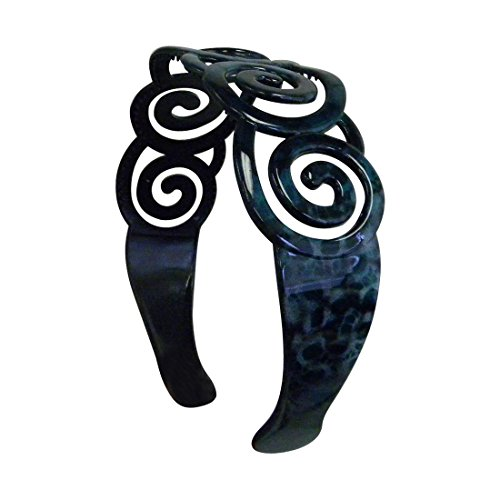 Blue 2 inch Plastic Headband with Curly Design (Motique Accessories)