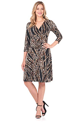 Rekucci Women's Slimming 3/4 Sleeve Fit-and-Flare Crossover Tummy Control Dress (6,Party -