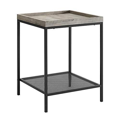 WE Furniture AZF18EMISTGW Side Table, 18 , Grey Wash