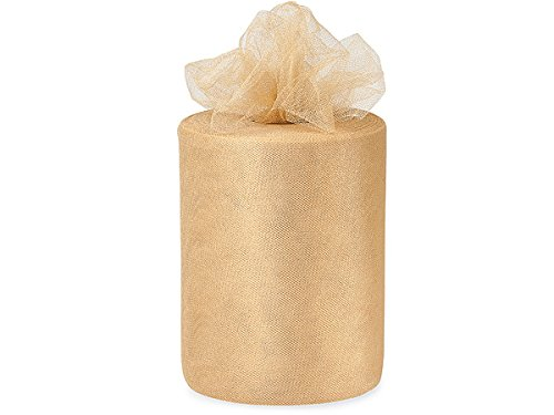 Pack Of 1, Solid Champagne Glimmer Tulle Ribbon 6