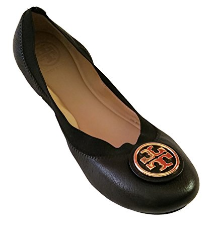 Tory Burch Shoes Flats Ballet Caroline Leather Elastic (7.5 B (M) US, Black) by Tory Burch