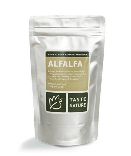 Taste Nature Alfalfa Pulver Bio, 1er Pack (1 x 150 g Packung) - Bio