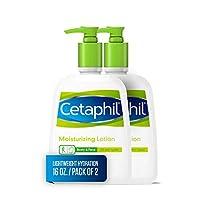 Loción humectante Cetaphil para todo tipo de pieles, loción corporal y facial, 16 oz. (Paquete de 2)