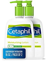 Cetaphil Moisturizing Lotion for All Skin Types, Body and Face Lotion, 16 Fl Oz (Pack of 2)