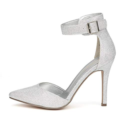 DREAM PAIRS OPPOINTED-ANKLE Pointed Toe Ankle Strap D'Orsay Stiletto Pump Silver Glitter, size 6.5 US