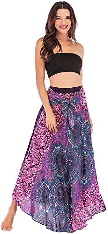 Imagen deHCFKJ Faldas Mujer Cortas Falda Halter Floral con Cuello Halter con Flores EláSticas De Hippie Bohemio Y Bohemio De Las Mujeres Vestido Halter Azul
