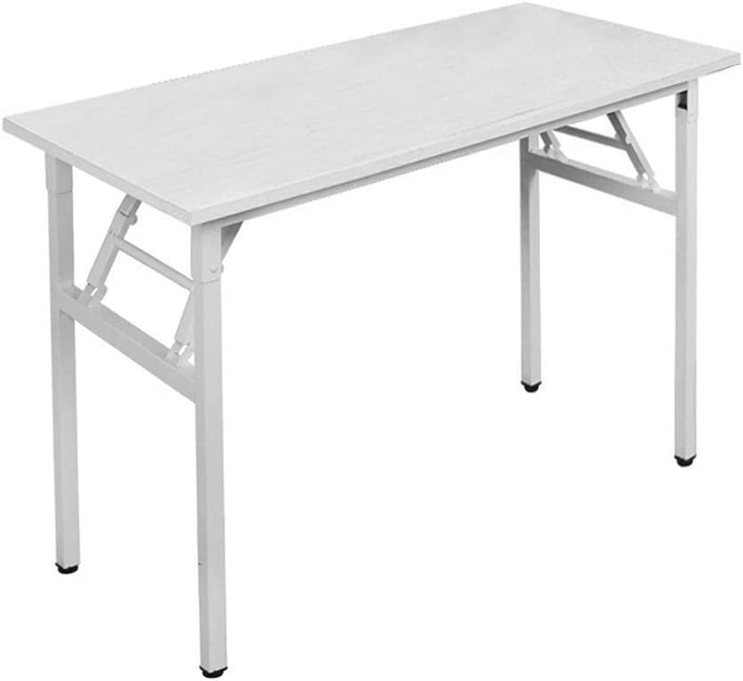 DlandHome 39 inches Small Computer Desk for Home Office Folding Table Writing Table for Small Spaces Study Table Laptop Desk No Assembly Required White DND-AC5DW-100